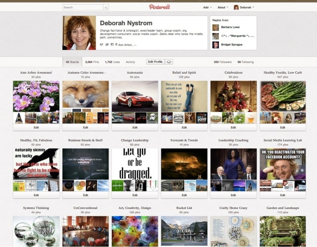 Sample Pinterest boards